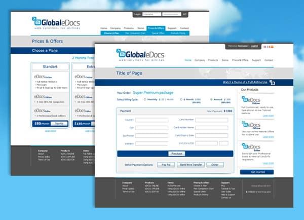 דוגמה עיצוב אתר | Global eDocs | תוכן | פורטל | בניית אתרים | קידום | תדמיתי