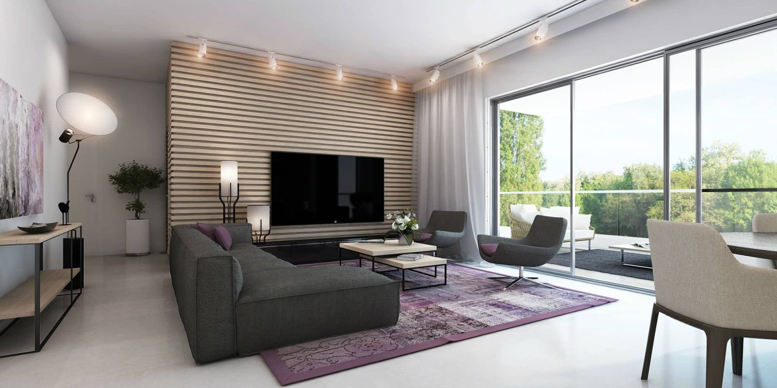 Web3D - הדמיות אדריכליות - אילוסטרציה של סלון בבית