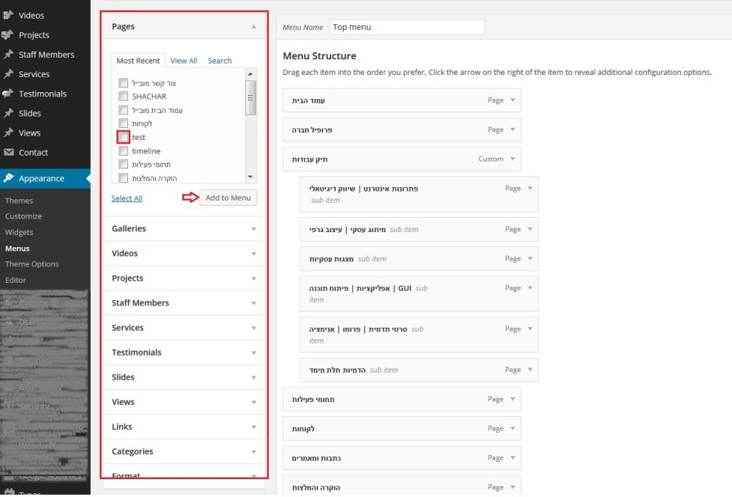 מדריך WordPress הוספת עמוד לתפריט