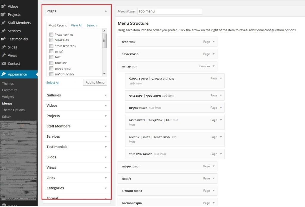 מדריך WordPress אזור בחירת עמודים לתפריט