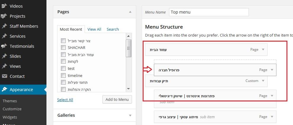 מדריך WordPress הזזת עמודים בתפריט