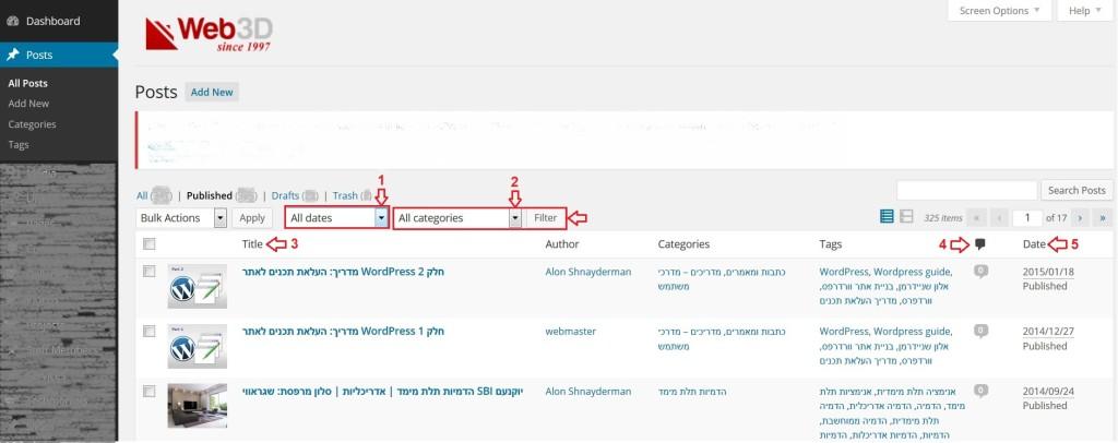 מדריך וורדפרס, מסך ניהול פוסטים עם סימונים, מערכת ניהול תוכן