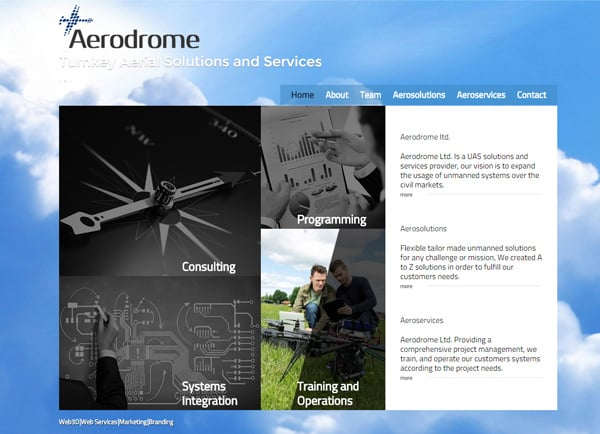"Web3D | בניית אתר תדמיתי עבור Aerodrome - פתרונות כטב""מים"
