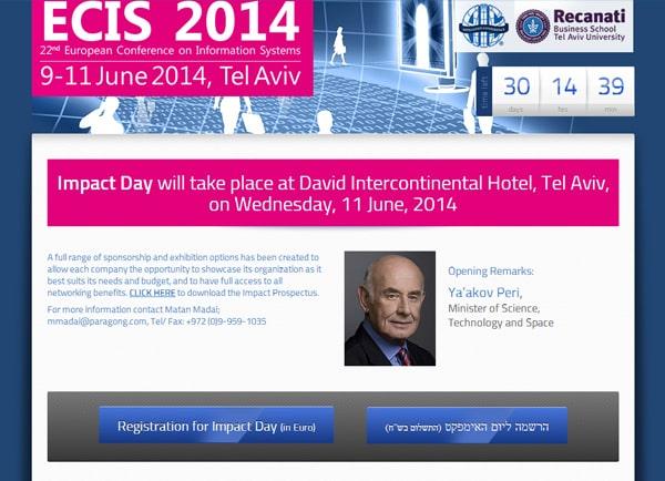 Web3D | אפיון | בניית אתר | מיניסייט: ECIS כנס מערכות מידע