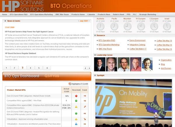 GUI, עיצוב פורטל ארגוני: חברת HP עולמית