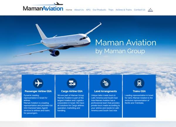 maman aviation, עיצוב אתרים, אתר לעסק