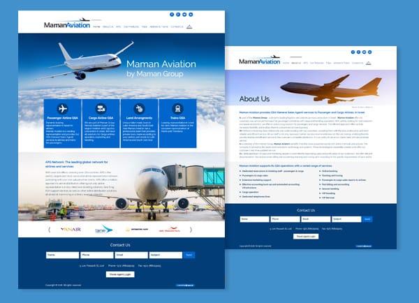 maman aviation, עיצוב אתרים, אתר תדמית