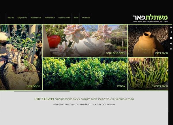 בניית אתר אינטרנט תדמיתי: משתלת פאר