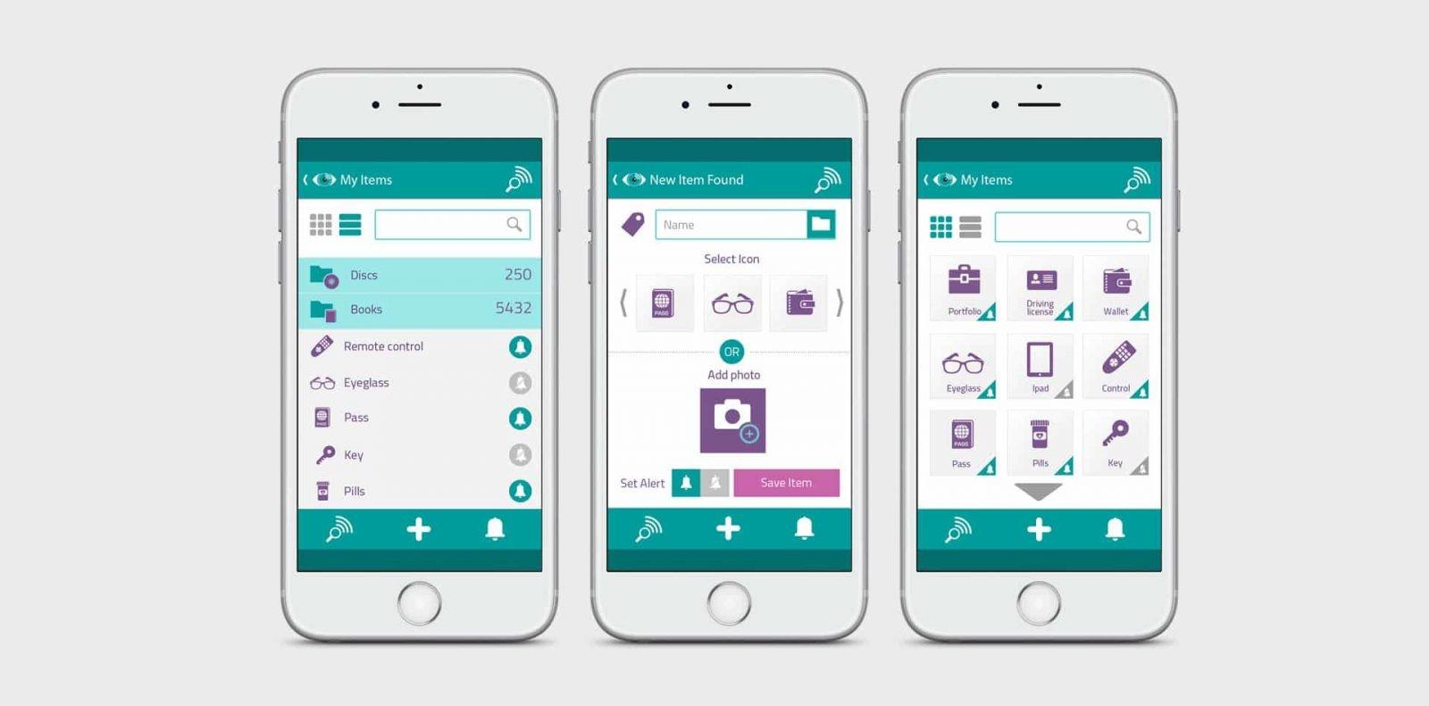 tag & find, עיצוב אפליקציה, GUI