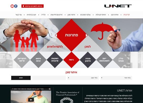 Web3D | בניית אתרים | אתר תדמית | קבוצת ביטוח ופיננסים-Unet
