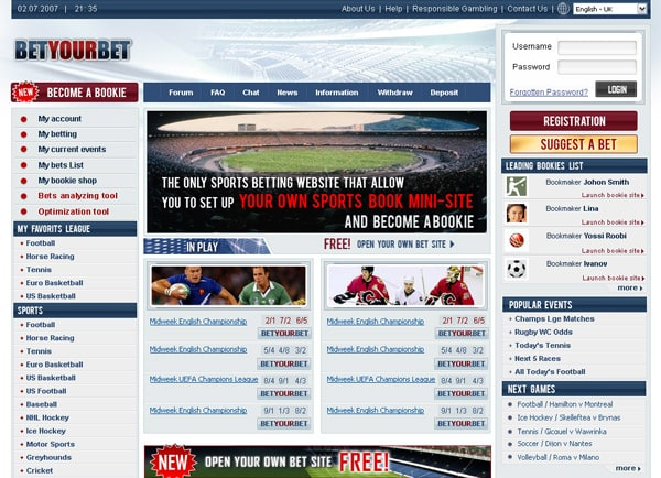 עיצוב אתר: אתר הימורים Bet your Bet