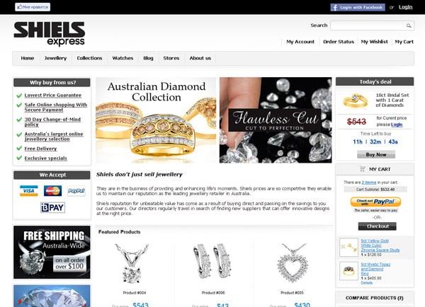 עיצוב אתר מסחרי: תכשיטי Shiels