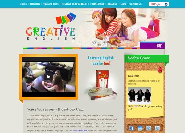 בניית אתר מסחרי: לימודי אנגלית Creative English