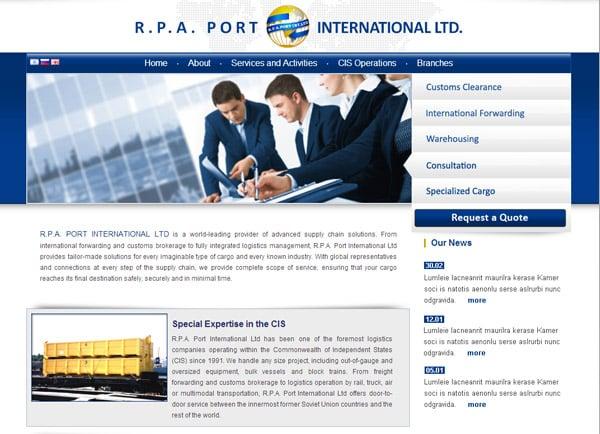 """בניית אתר: ר.פ.א. פורט אינטרנשיונל בע""""מ"""