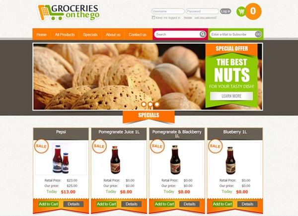 Web3D | בניית אתרים לעסקים | אתר מסחרי: חנות מוצרי מזון Groceries on the go