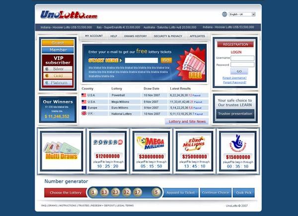 עיצוב אתר: אתר הימורים UnoLotto