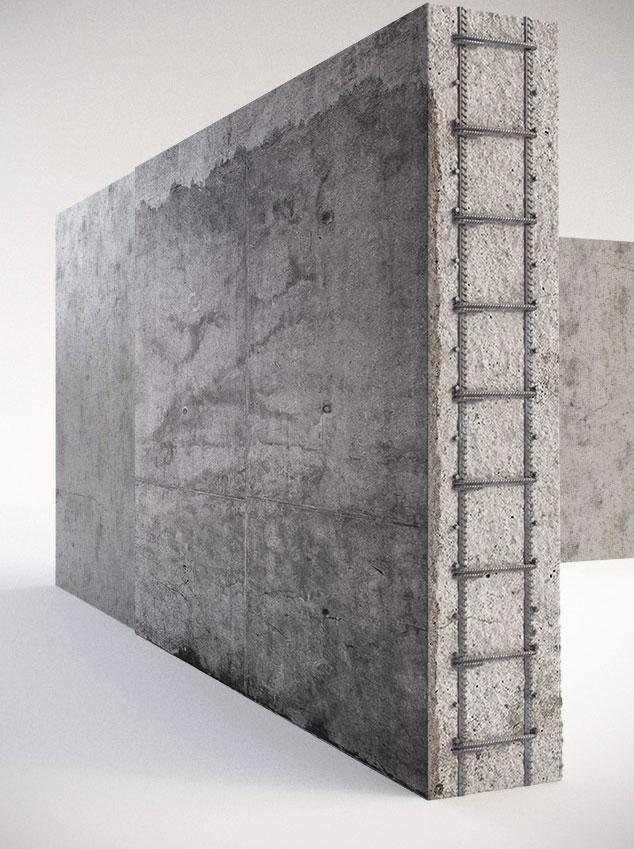הדמיית תלת מימד - קיר בטון