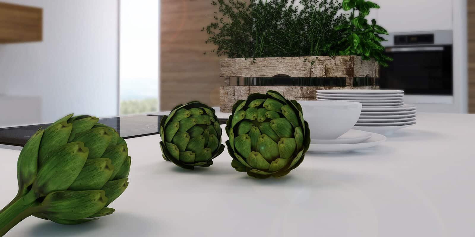 Web3D - תלת מימד - צילום שולחן אוכל עם ארטישוקים