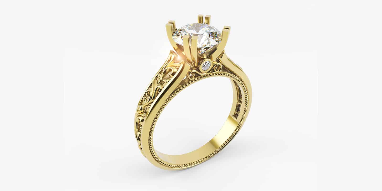 הדמיות תלת מימד טבעת יהלום מזהב