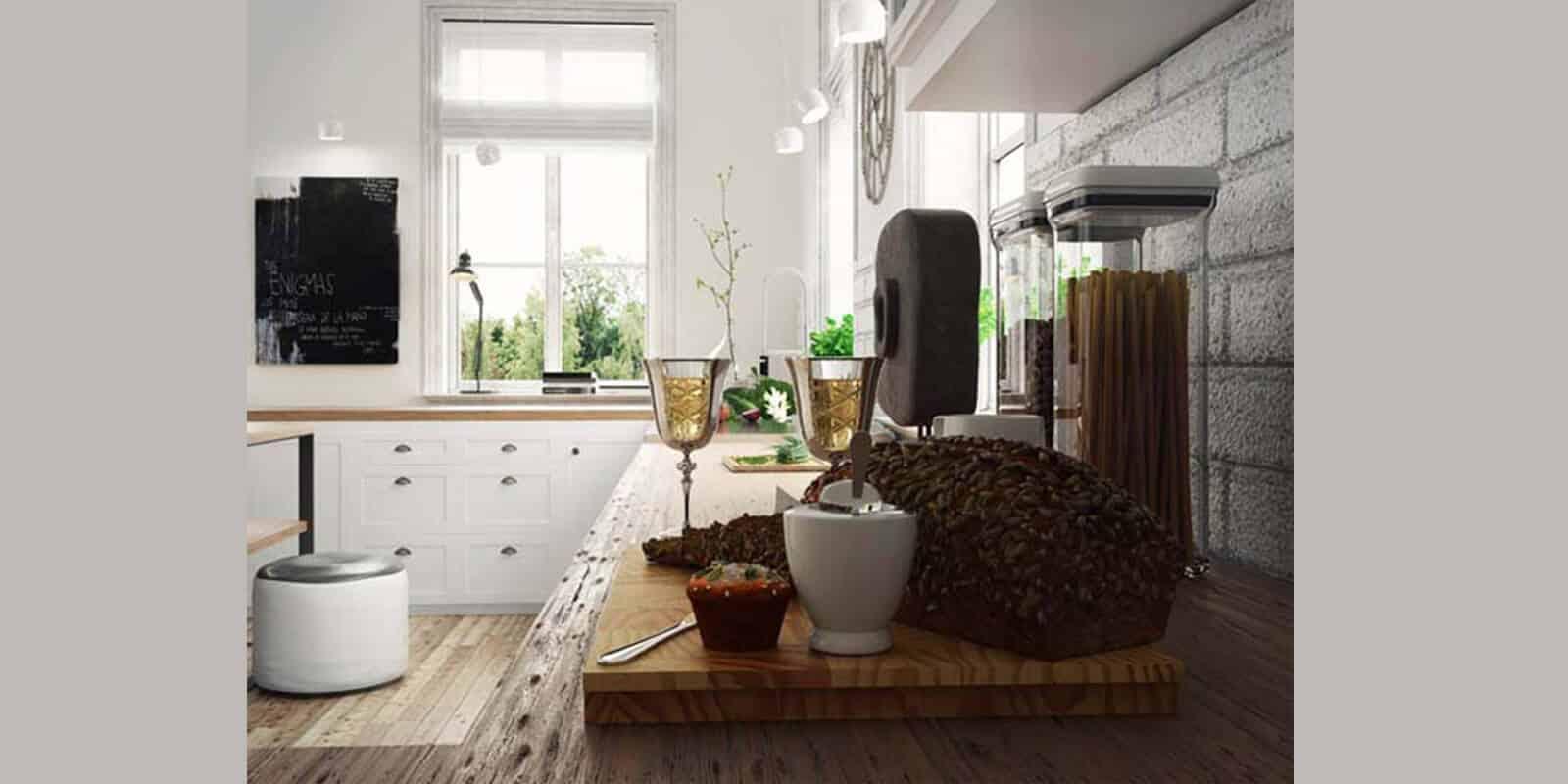 הדמיית פנים אדריכלית למטבח