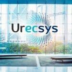 Urecsys logo demonstration on a window, business branding, branding