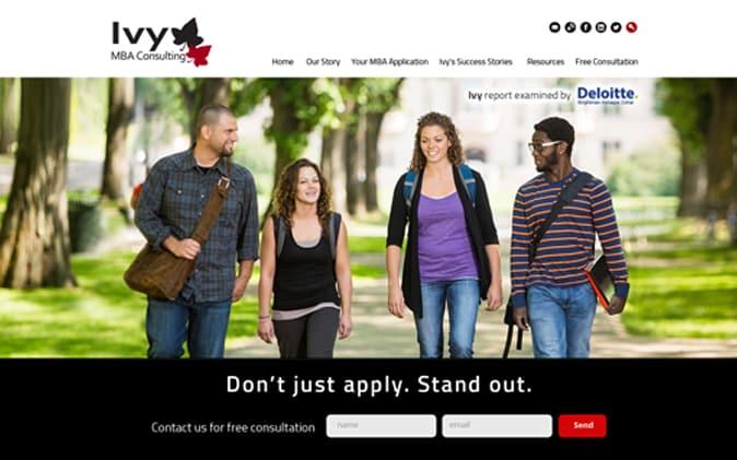 פיתוח אתר: Ivy MBA Consulting תנומה ראשית של פרויקט