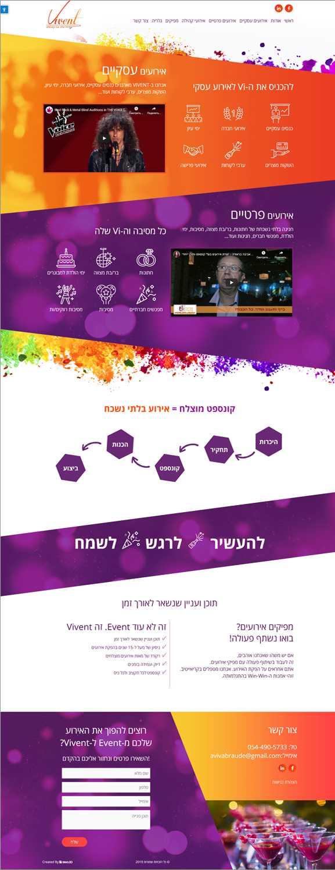 איפיון אתר חברת הפקות Vivent