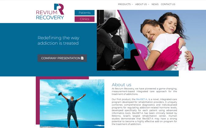 הקמת אתר תדמיתי רפואי: Revium Recovery תנומה ראשית של פרויקט