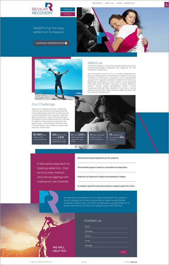 Revium Recovery איפיון אתר אינטרנט רפואי