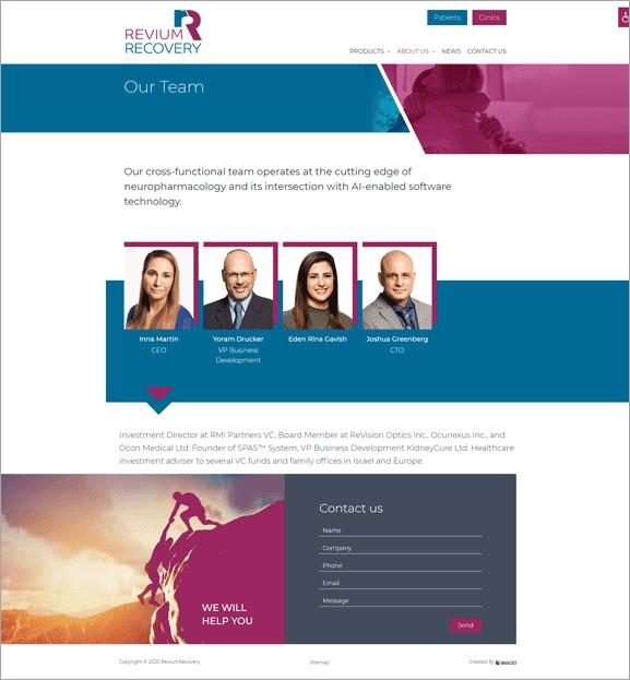 Revium Recovery פיתוח אתר אינטרנט רפואי