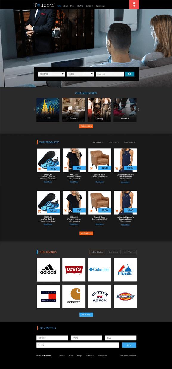 Touch-E הקמת אתר סחר