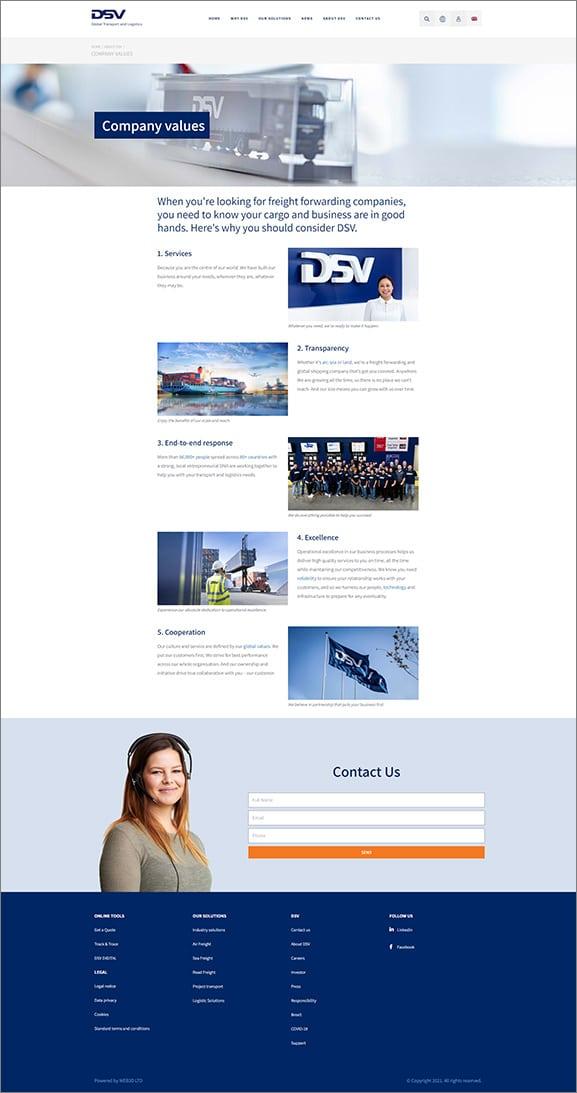 איפיון אתר תדמית DSV
